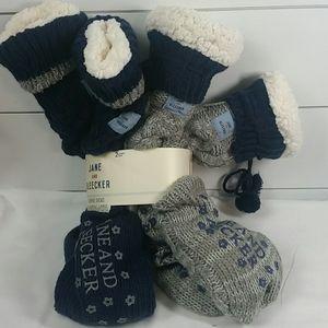 Jane and Bleeker slipper socks (2 pr)  sz 4-10